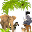Safari animals frame — Stock Photo