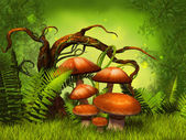 Mushrooms fantasy forest — Stock Photo