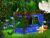 Fairy tale bed — Stock Photo