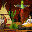 Stock Photo: Native american children, teepee at night