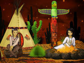 Native american children, teepee at night — 图库照片
