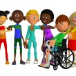 Classmates, friends with a disabled boy — Stock Photo