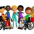 Classmates, friends with two  disabled children — Foto Stock