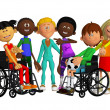 Classmates, friends with two  disabled children — Stockfoto