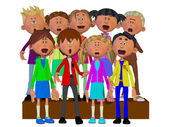 Children singing, Children chorus — Foto Stock