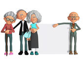 Happy and motivated old people with placard 3d — Foto Stock