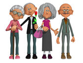 Happy and motivated old people 3d — Stock Photo