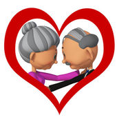 Elderly people in love3d — Stock Photo
