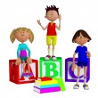 Stock Photo: schoolchildren 3d