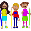 Schoolchildren with pencils 3d — Foto Stock #31522787