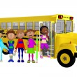 Schoolchildren 3d and schoolbus — Foto Stock
