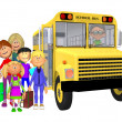 Schoolchildren 3d and schoolbus — Stock Photo