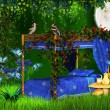 Fairy tale bed — Stockfoto