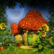 Stock Photo: Fantasy mushroom house