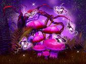 Mushrooms fantasy forest — Stockfoto