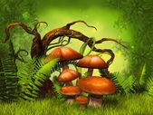 Mushrooms fantasy forest — Stock Photo