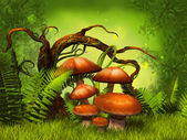 Mushrooms fantasy forest — Foto Stock