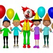 Group of 3d kids, celebrating party with Clown — Stock Photo