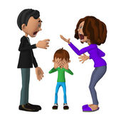 Sad 3d child hearing his parents arguing — Stock Photo