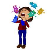 Sick child, sneezing microbes — Stock Photo
