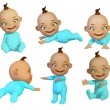 Stock Photo: Baby 3d different poses