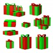Stock Photo: Christmas Gift Boxes Set