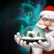 Santa holding a snow globe with  magical lights — Stock Photo