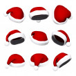Set of Santa hats isolated on white 3d — Stock fotografie