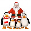 Happy pinguins family with Santa — Stock Photo