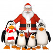 Stock Photo: Happy pinguins family with Santa