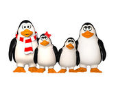 Happy pinguins family — Stock Photo