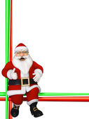 Christmas Border with sitting Santa Claus — Foto de Stock