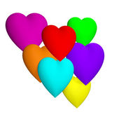 Colored hearts 3d — Stock Photo
