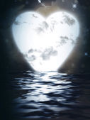 Heart Moon reflected in water — Foto Stock