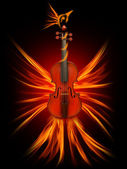 Violin as a firebird, the beauty of music — Stock Photo