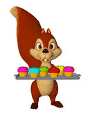 Cartoon squirrel with cupcakes, children party — Stock Photo
