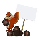 Cartoon squirrel with a blank frame — Stock Photo