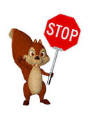 Cartoon squirrel with STOP Sign — Stock Photo
