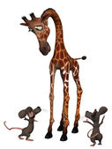 Giraffe with two cartoon mice. Tall small concept — ストック写真