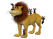 Courage, 3d cartoon mice  with a lion — Stock Photo
