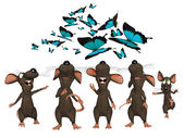 3d cartoon mice looking upwards to butterflies — Stock Photo
