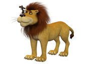 Courage, 3d cartoon mouse with a lion — Stock Photo