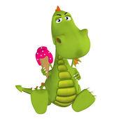 3d мультфильм дракон с мороженым — Стоковое фото