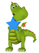 Cute 3s cartoon dragon with a star — Stockfoto