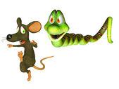 Presa e predador, desenhos animados snakewith um rato — Foto Stock
