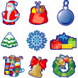 Set of Christmas icons - Stok Vektör