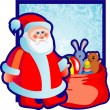 Santa Klaus with a bag of gifts — Stock Vector