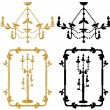 Stock Vector: Framework candelabrum and chandelier