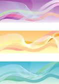 Tre banner astratti con strisce — Vettoriale Stock