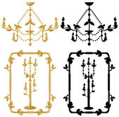 Framework candelabrum and chandelier — Stock Vector